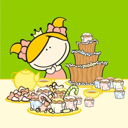Birthday card with a girl Stock Vector - 15033983