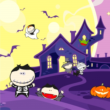 cute halloween: Cute Halloween creatures and a scary house