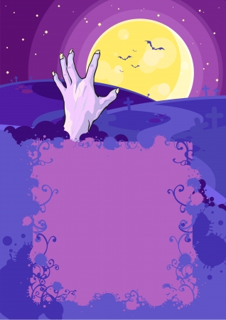 Halloween background with a hand in a grave Vector