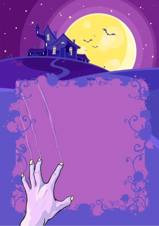 Halloween background with a hand and a scary house Vector