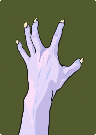 Halloween illustration of a zombie hand Vector
