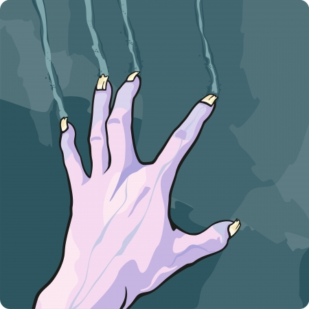 creepy alien: Scratching zombie hand Illustration