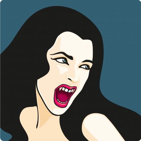 heks: Mooie vampier meisje Stock Illustratie
