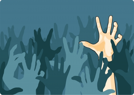 zombie hand: Zombie crowd attacking a man