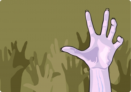 scary hand: Zombie crowd
