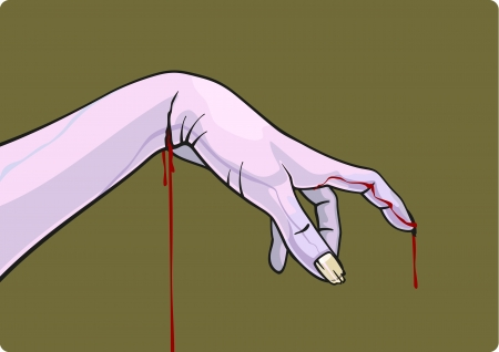 creepy hand: Bleeding zombie hand Illustration