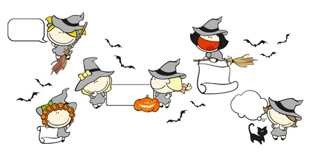Funny kids #67 - Halloween backgrounds with witches Vector
