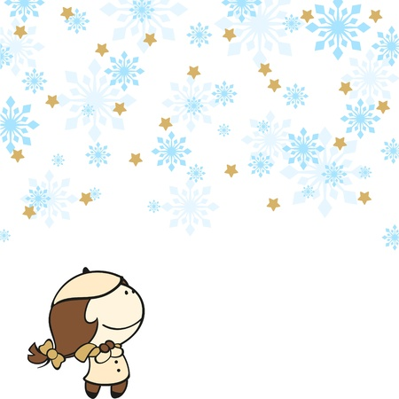 Cute girl under a snowfall Stock Vector - 16559546