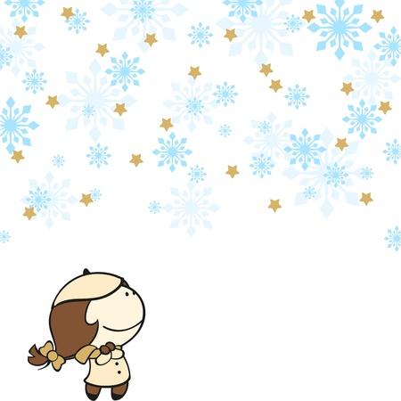 Cute girl under a snowfall Stock Vector - 16559546