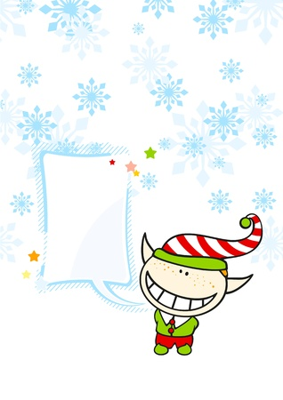 Christmas card with an elf boy and a speech bubble Vector