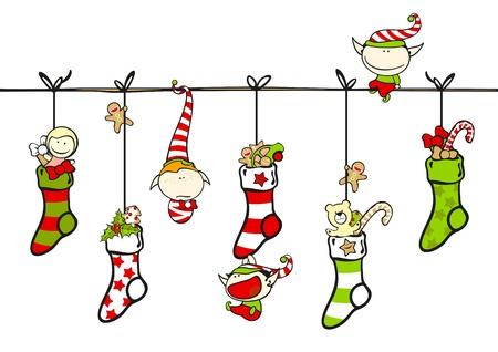 risas: Lindo elfos jugando con medias de Navidad Vectores