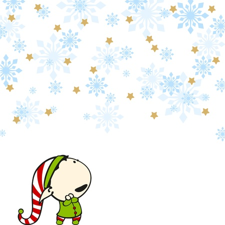Elf under a snowfall Vector