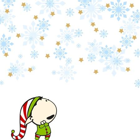 Elf under a snowfall
