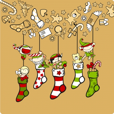 elf hat: Cute elves with Christmas stockings Illustration