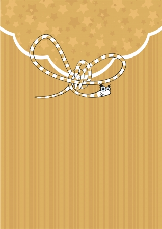 Background with a cute gold snake Vector