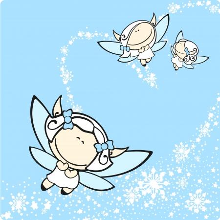 angeles bebe: Las hadas de nieve Vectores