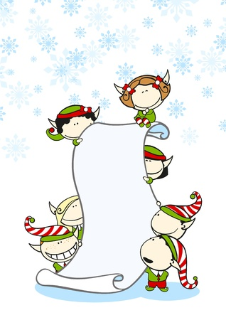 Elves with a scroll Vector