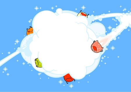 Flying monsters and blast, background Vector