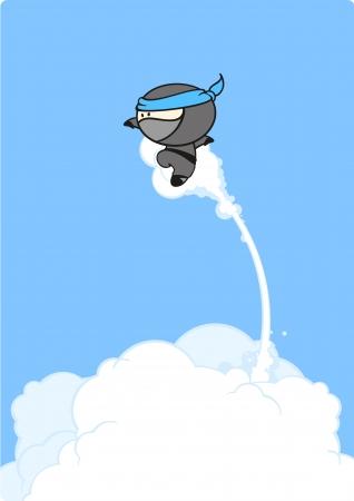 samoerai: Super ninja jump Stock Illustratie