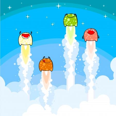 brandweer cartoon: Monsters lancering Stock Illustratie