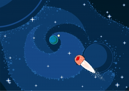 Cute monster comet flying to the Earth Vector