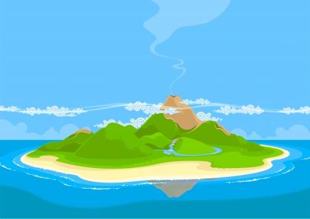 PiÄ™kna egzotyczna wyspa Ilustracje wektorowe