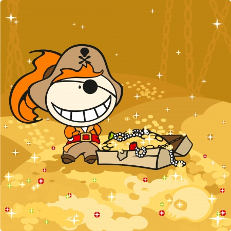 Cute pirate and treasures Vector