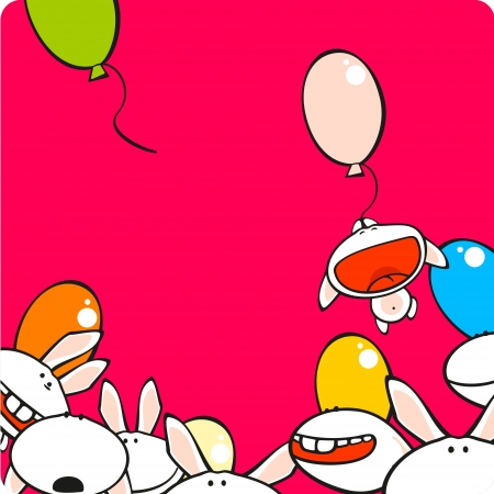 Background with cute bunnies Vector