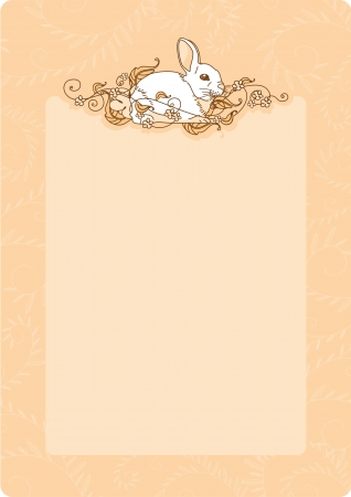 Retro style card with a bunny Vector