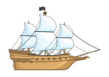흰색에 고립 된 역사 배 일러스트
