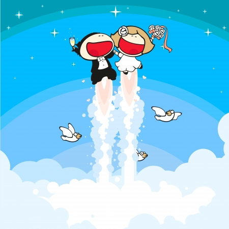 Happy bride and groom flying Vector