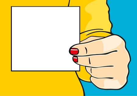 Female hand with a sheet of paper Vector