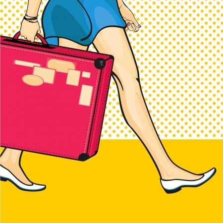 reise retro: Reisen Mädchen mit einem Koffer