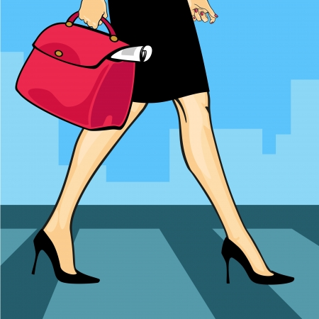 people walking street: Businesswoman in a city