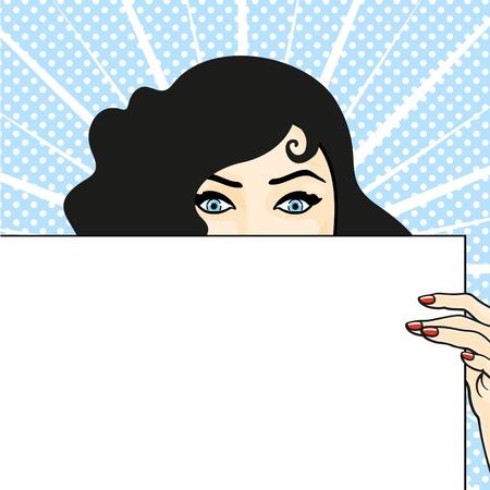 Frau mit einem Blatt Papier, Überraschung zum Ausdruck Standard-Bild - 21524535