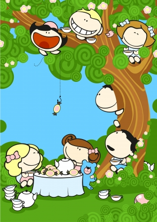Group of friends drinking tea in a garden Vector