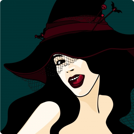 Stylish witch in a hat with a veil Vector
