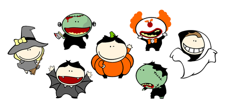 Funny kids - Halloween costumes Stock Vector - 22972819