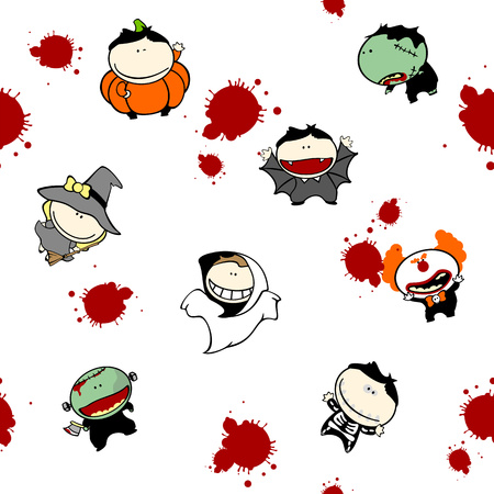 Seamless Halloween pattern with kids in costumes and blood drops Vector