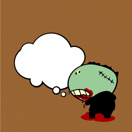 Background with thinking zombie Vector