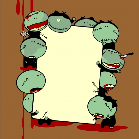 Funny zombies holding a banner Stock Vector - 22972828