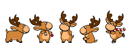Christmas set of images of a deer Vector