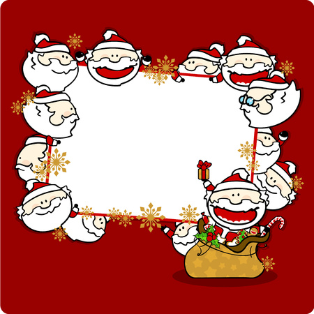 new year tree: Christmas frame with Santa Clauses, horizontal