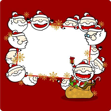 winterberry: Christmas frame with Santa Clauses, horizontal