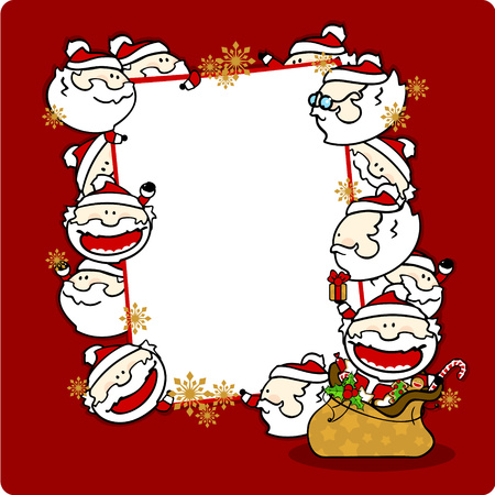 Christmas frame with Santa Clauses, vertical Vector