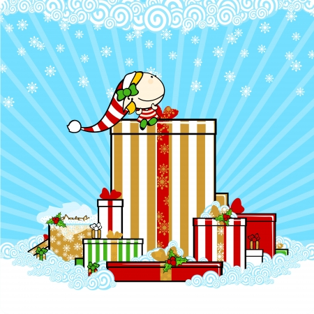 snowbank: Little elf girl sitting on Christmas gift boxes