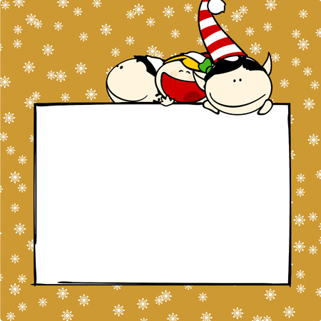 Christmas card with elves Vector