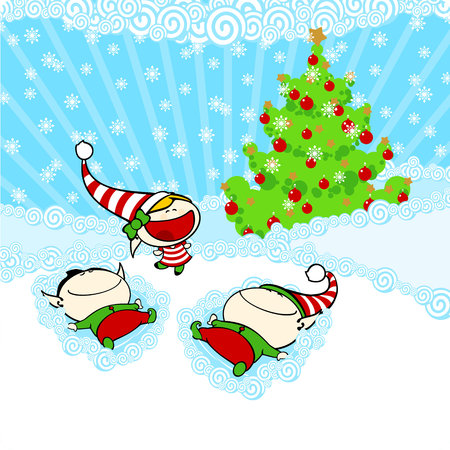 Snow angels Stock Vector - 24559786