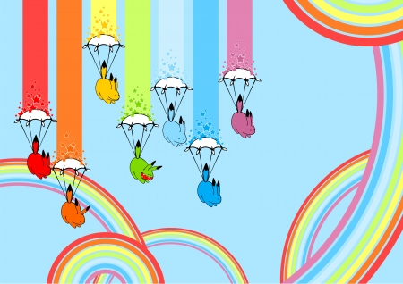 Cute playful rainbow monsters Stock Vector - 25327442