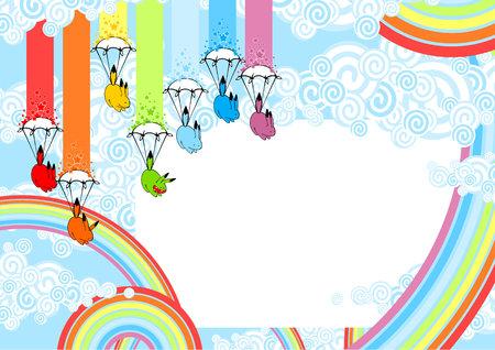 Cute card with playful rainbow monsters Vector